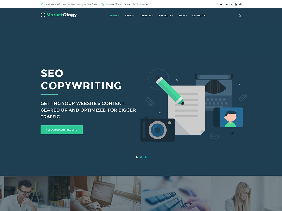 MarketOlogy WordPress page template