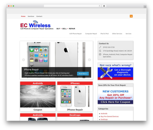 WP-PinUp premium WordPress theme - ecwirelessnc.com