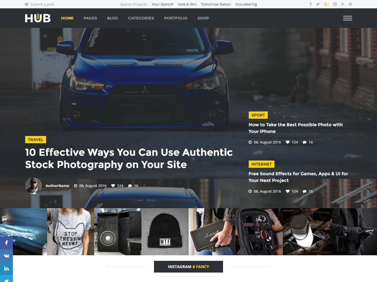 Hub Magazine best WordPress magazine theme