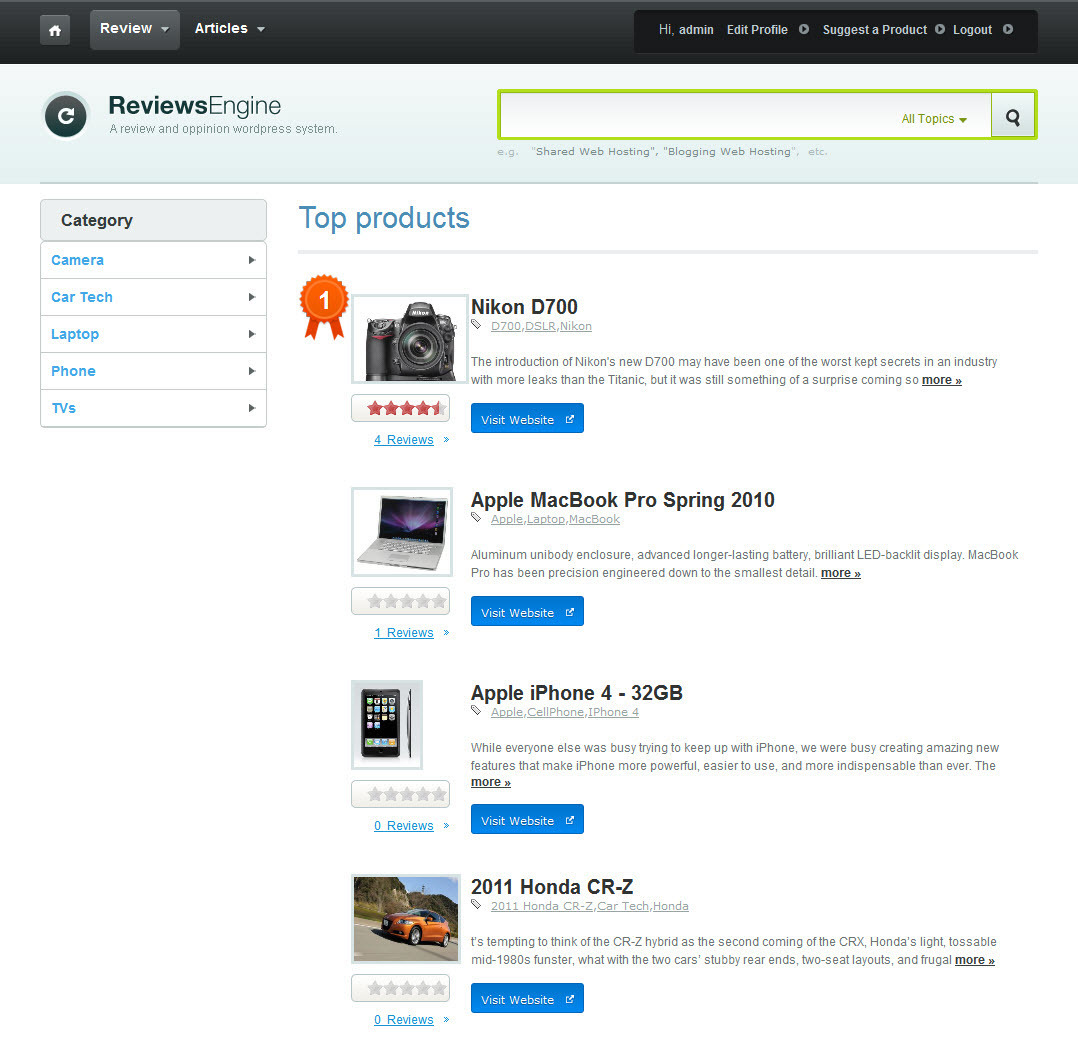 afcc08a3d7c Review Engine Theme WordPress theme by the Dailywp team