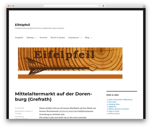 Best WordPress theme Twenty Sixteen - eifelpfeil.de