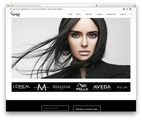 WordPress theme Coiffeur - equipehair.co.uk