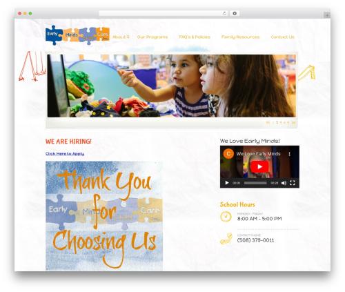 Kids Voice School WordPress theme design - earlymindschildcare.com