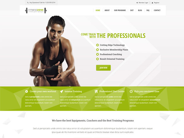Fitness Zone WordPress video theme