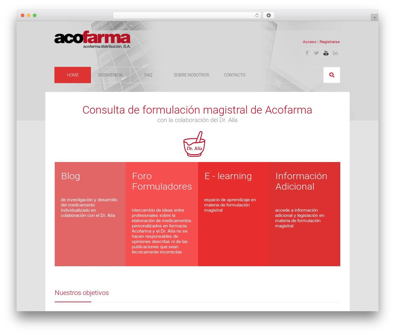 Medicure WordPress blog template - formulacionmagistral.org