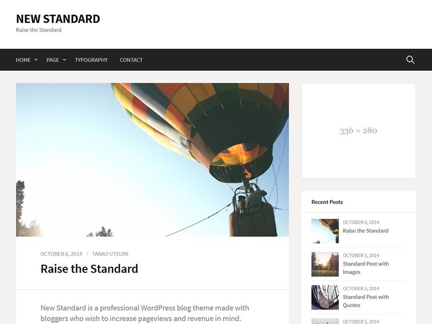 New Standard WordPress blog theme