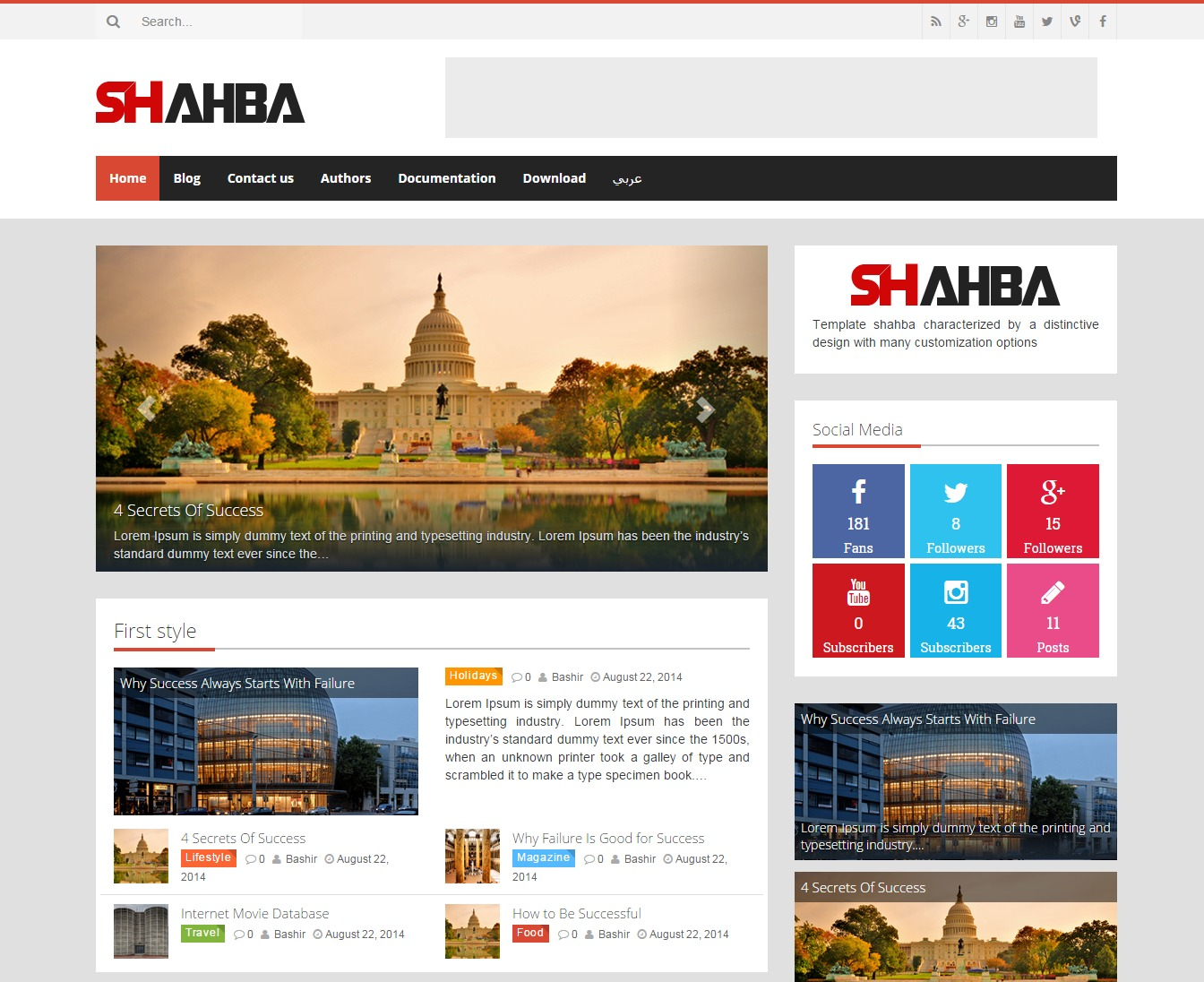 shahbaTheme WordPress theme design
