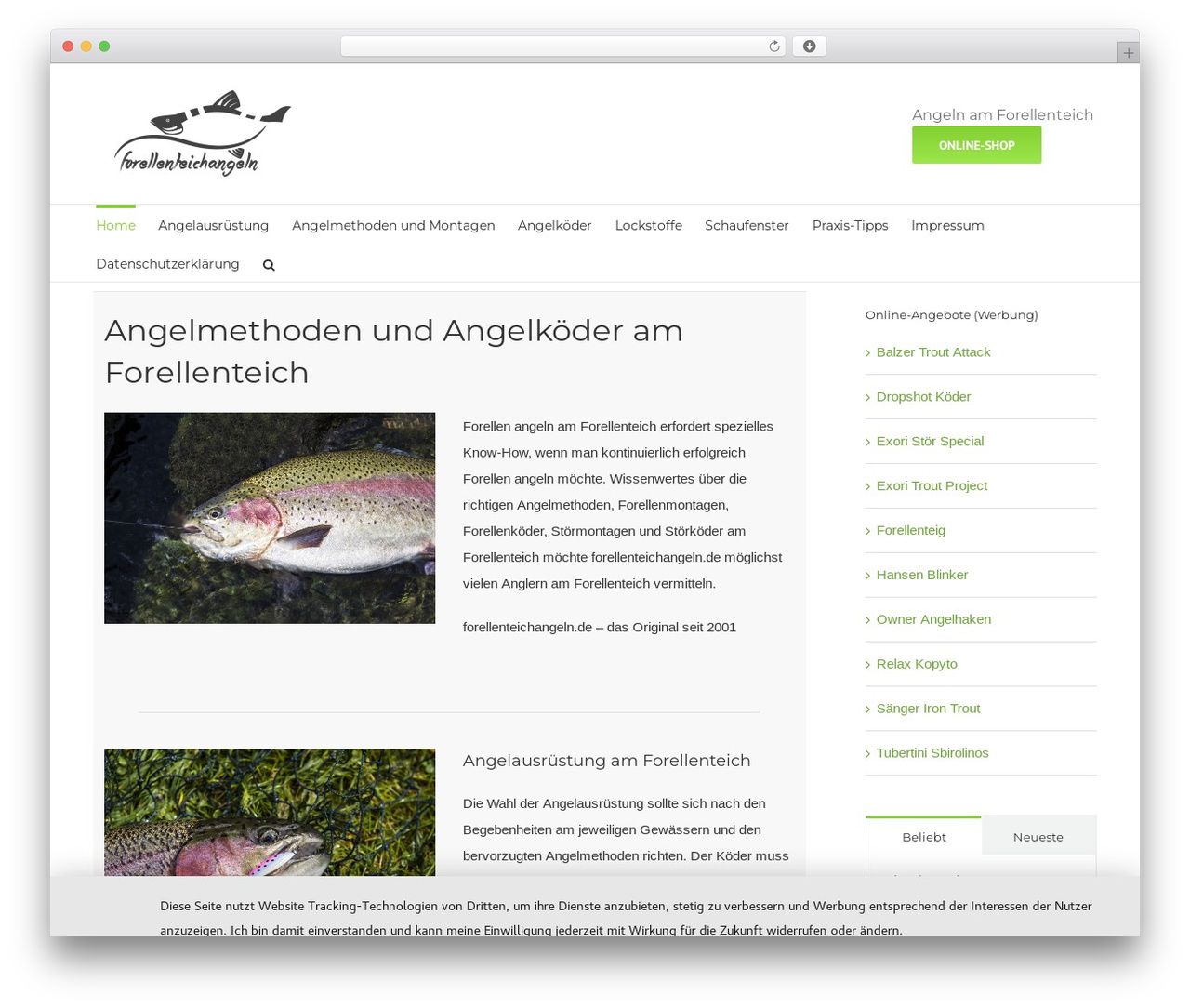 WP theme Avada - forellenteichangeln.de