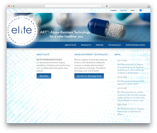 Best WordPress theme Elite - elitepharma.com