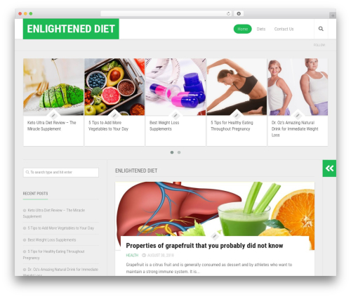 WordPress template Enspire - enlightened-diet.com