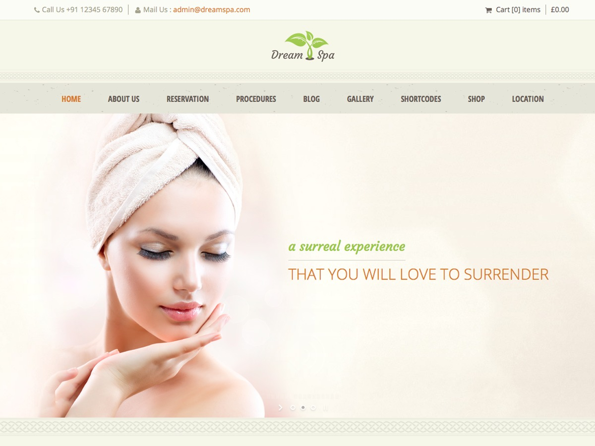 Dream Spa WordPress template for business