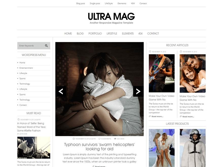 Ultra Mag (Share on Theme123.Net) WordPress news template