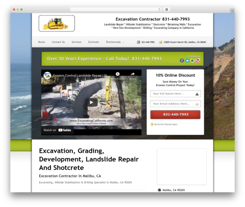 Local Lead Arsenal WordPress template for business - excavationmalibu.com