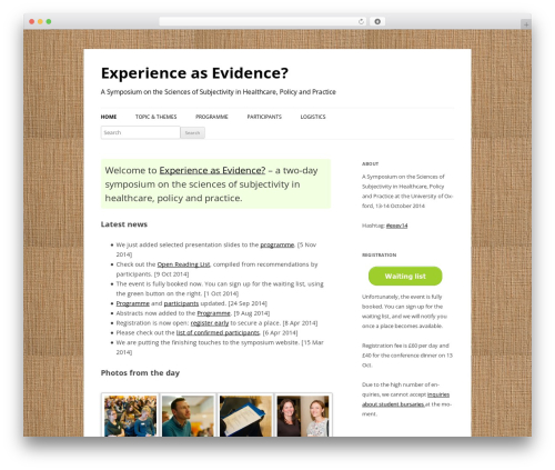Twenty Twelve template WordPress - experience-as-evidence.org