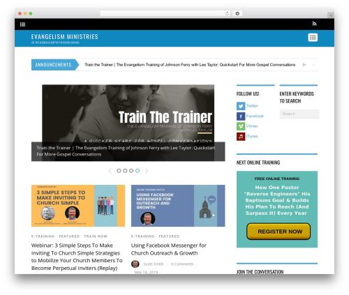 Themify Magazine WordPress blog template - evangelismga.com