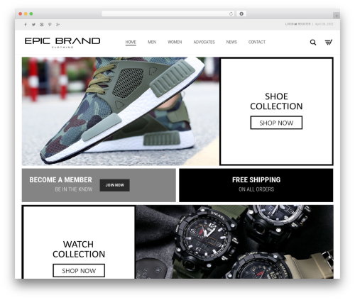 Aurum WordPress store theme - epicbrandclothing.com