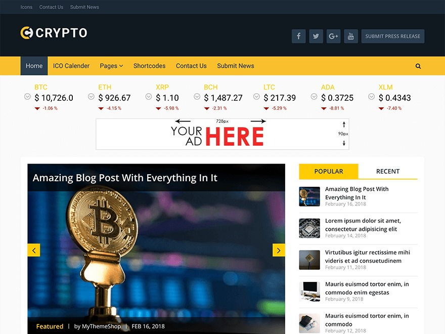 Crypto by MyThemeShop WordPress shop theme