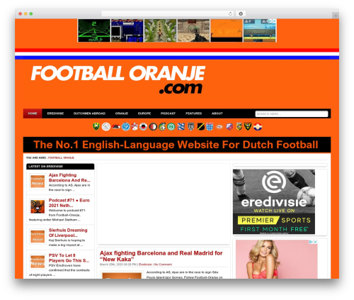 Ariel WordPress news theme - football-oranje.com