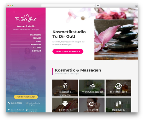 BeautySpot massage WordPress theme - usedom-tu-dir-gut.de