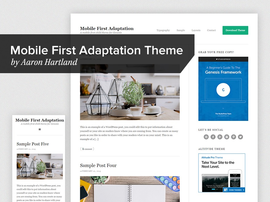 Mobile First Adaptation WordPress page template