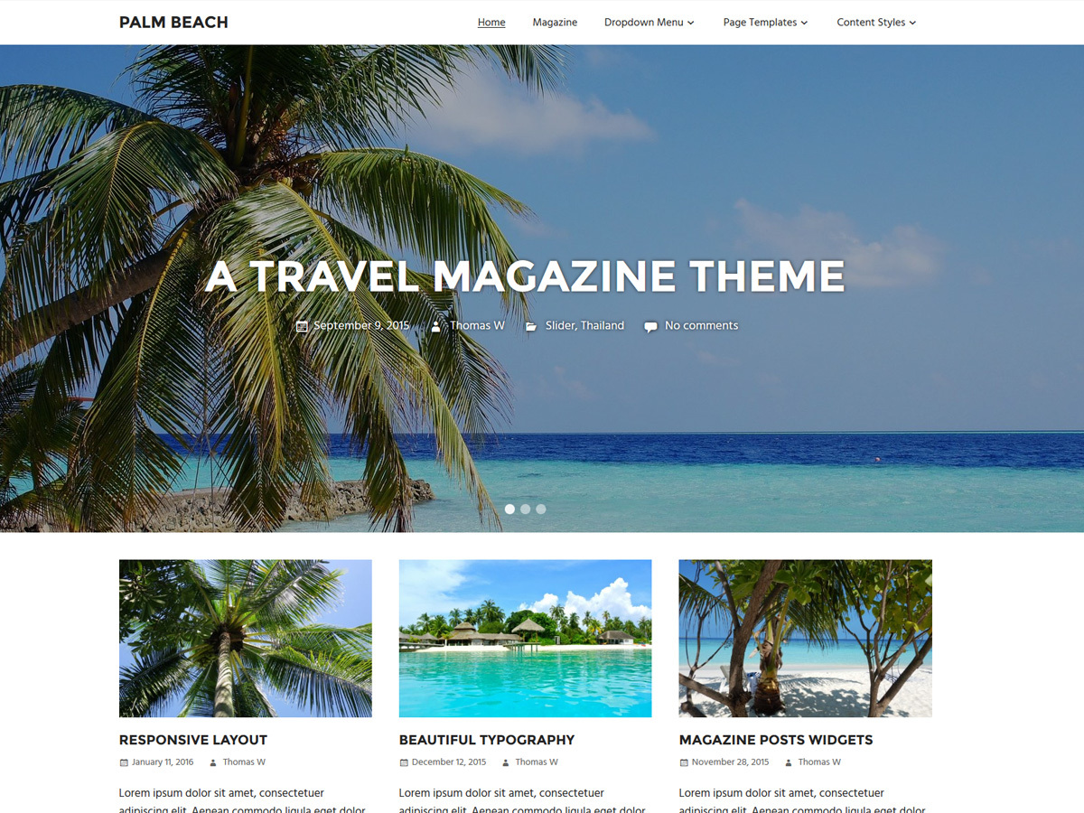 Palm Beach WordPress template free