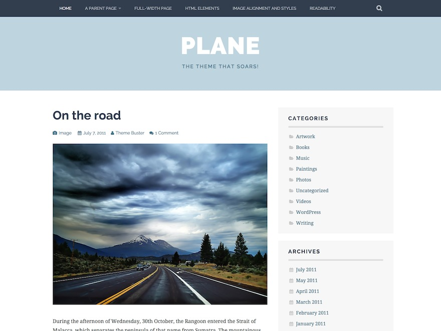 Plane WordPress blog template
