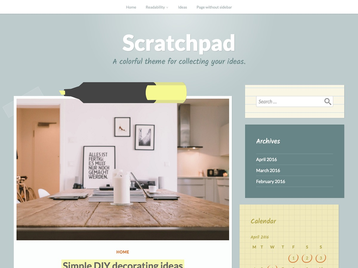 Scratchpad free WP theme