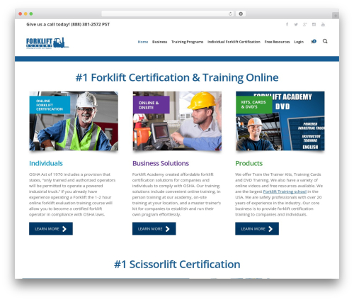 Sentinel WordPress theme - forkliftacademy.com