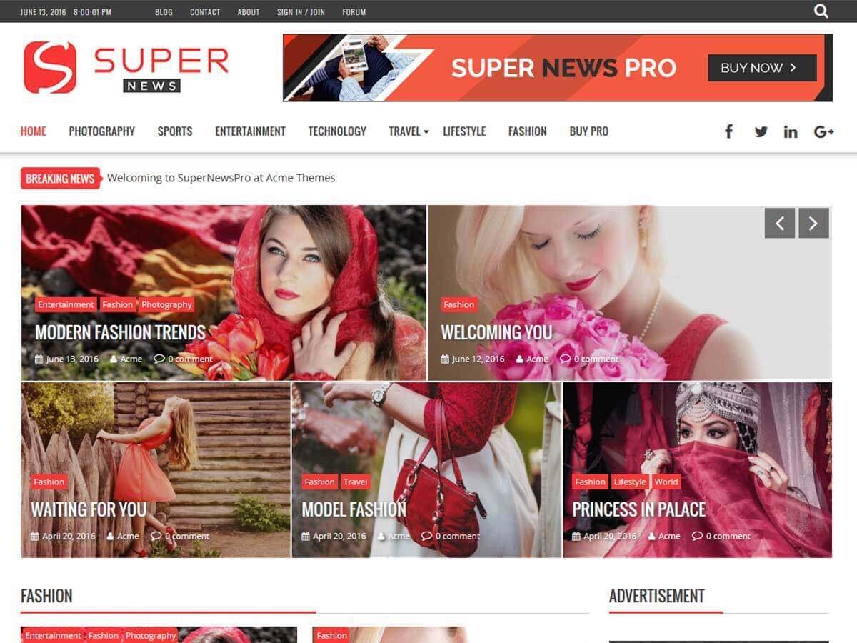 SuperNewsPro photography WordPress theme