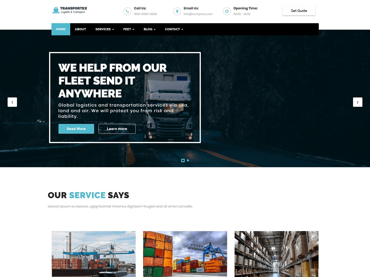 Transportex WordPress theme free download