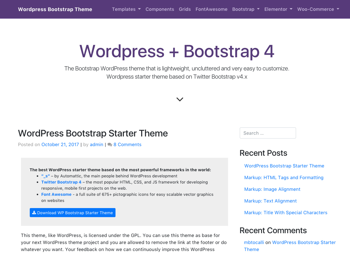 WP Bootstrap Starter Child WordPress shopping theme