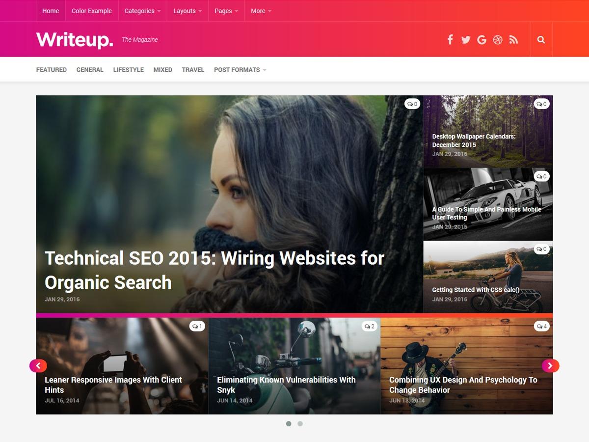 Writeup WordPress blog theme