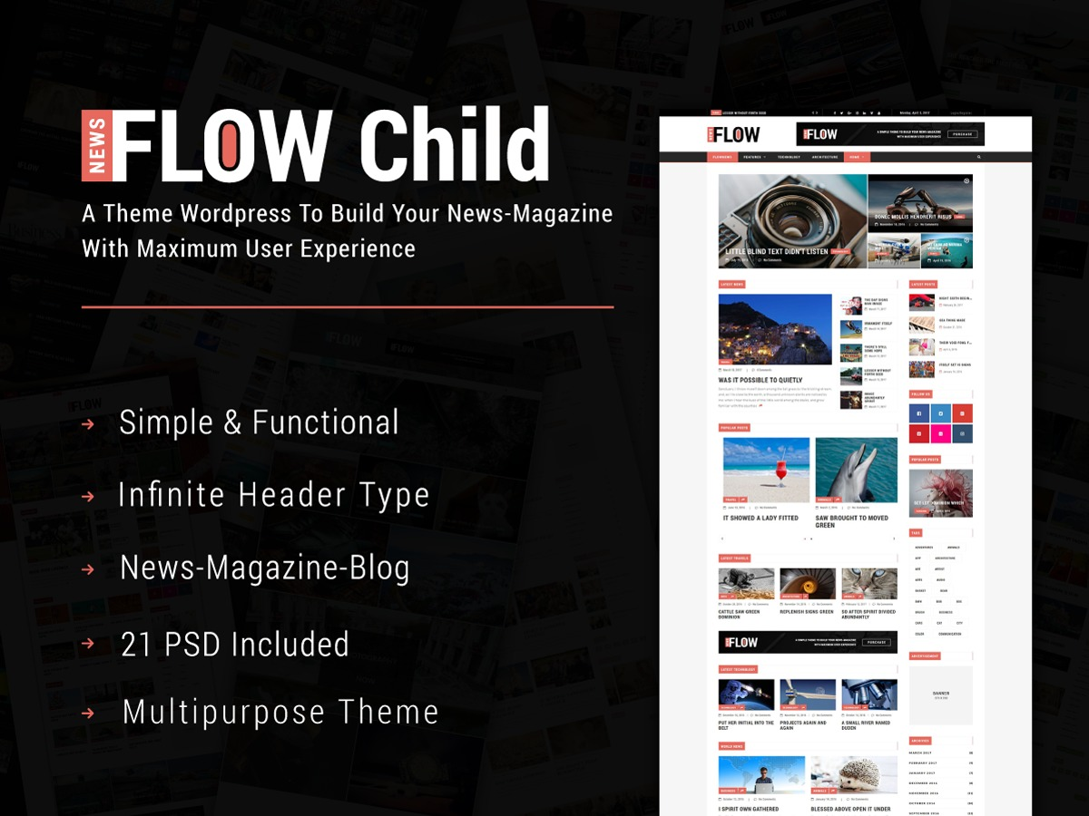 FlowNews Child WordPress news template