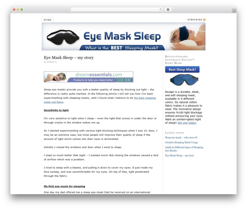 Thesis WordPress template - eyemasksleep.com
