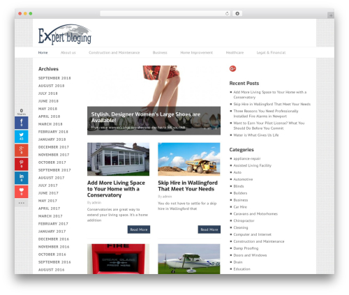 Split WordPress blog template - expertsblogging.co.uk