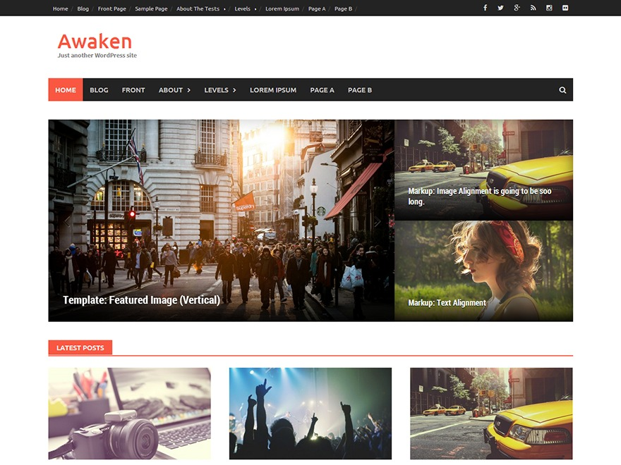 Awaken Child WordPress news template