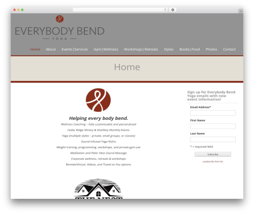 WP Doppio WordPress page template - everybodybend.com