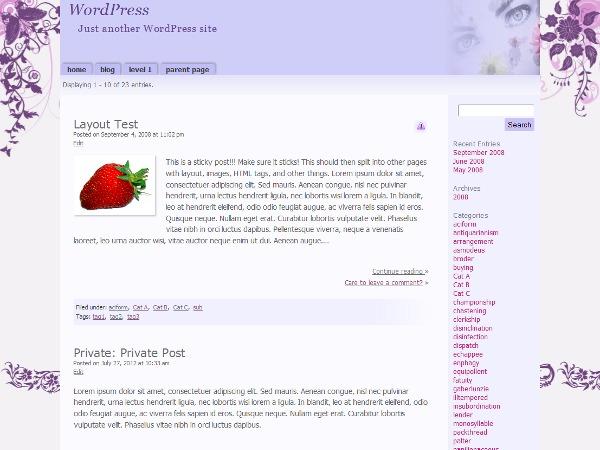 WordPress theme Purple Pastels Child 01