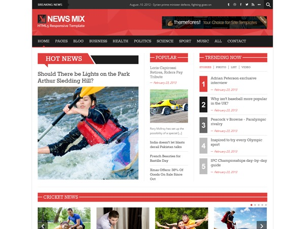 News Mix WordPress news template