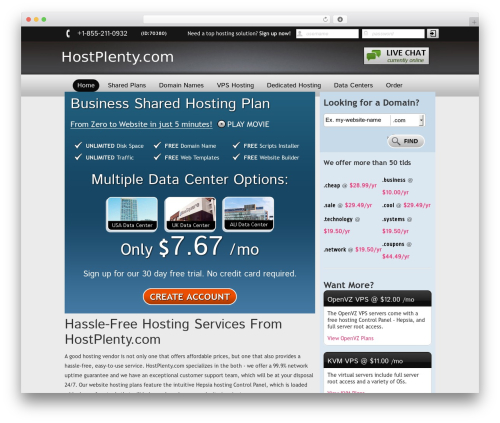 New Evolution WordPress theme - hostplenty.com