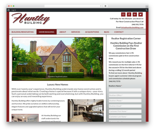 WordPress social plugin - huntleybuilding.com