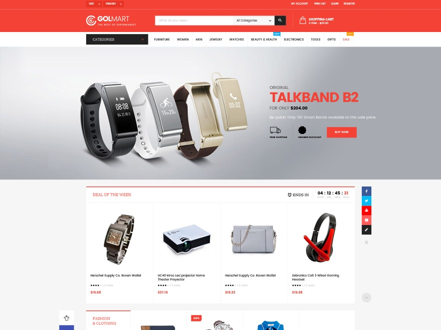 GolMart WordPress ecommerce theme