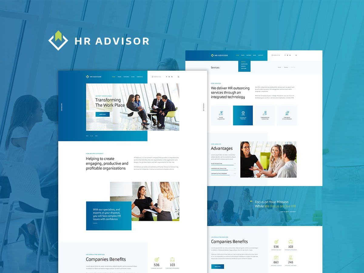HR Advisor WordPress template for business