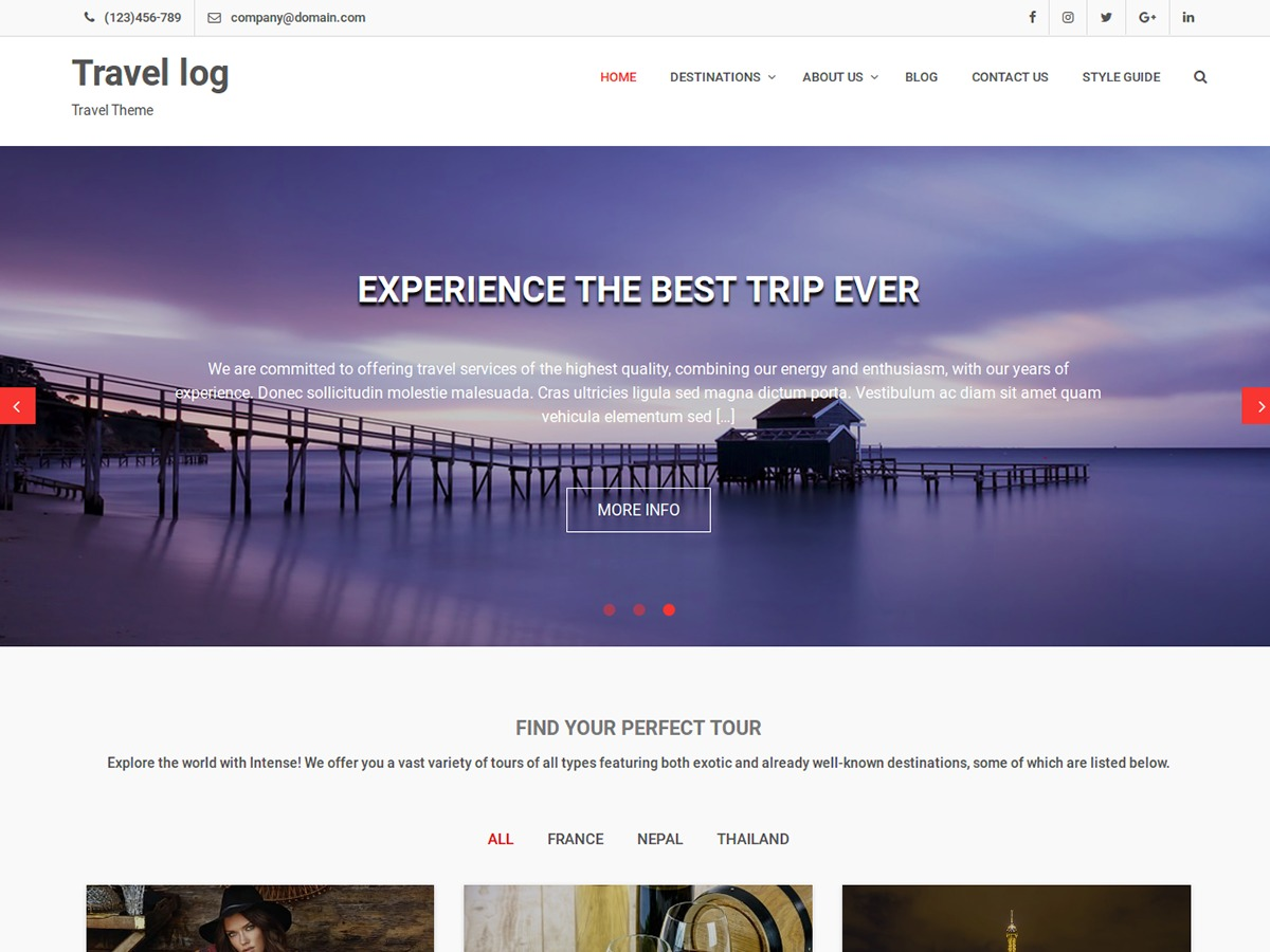 Travel Log WordPress theme download
