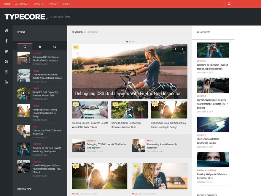 Typecore WordPress blog theme