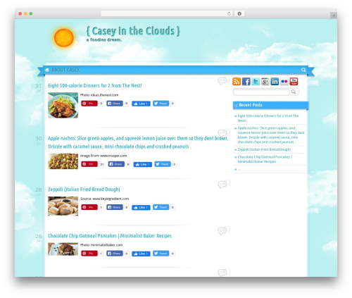 Sunny Blue Sky food WordPress theme - caseyintheclouds.com