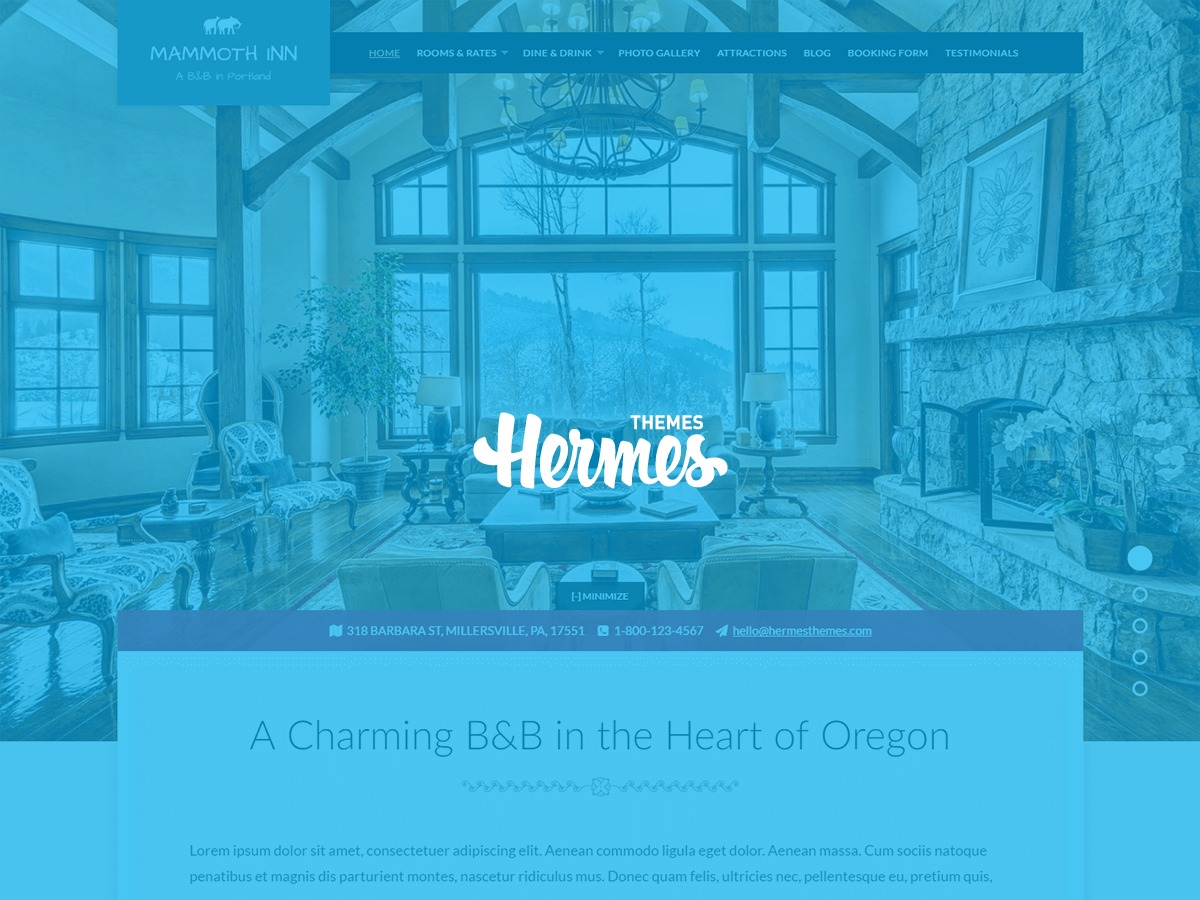 Hermes: Mammoth WordPress hotel theme