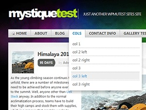 Mystique WordPress page template