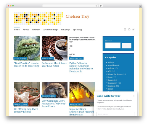 WordPress website template Apostrophe 2 - chelseatroy.com