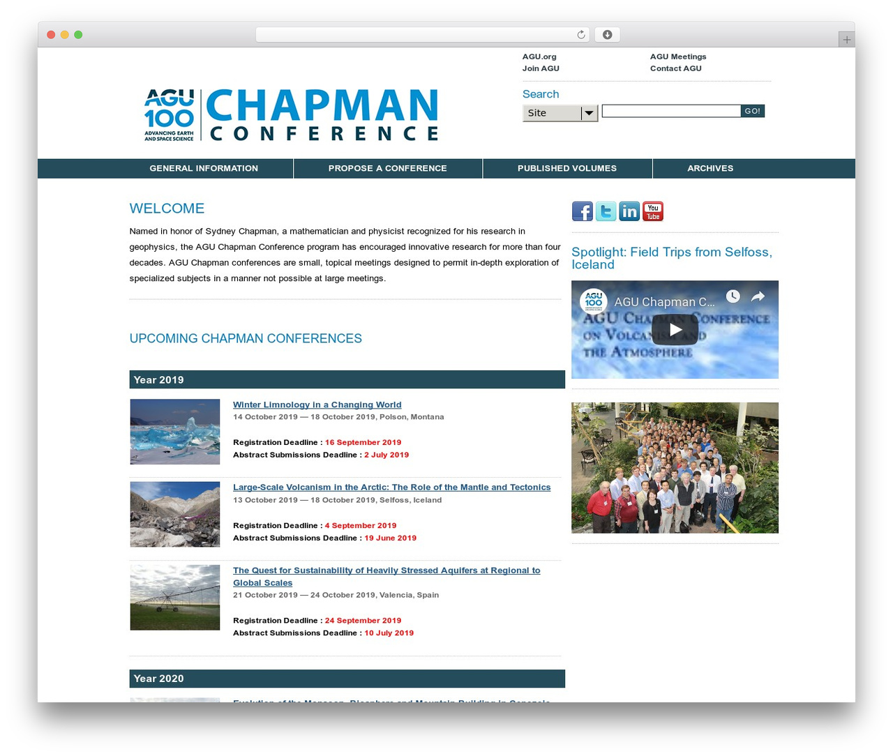 Best WordPress theme Simian Conference Base - chapman.agu.org